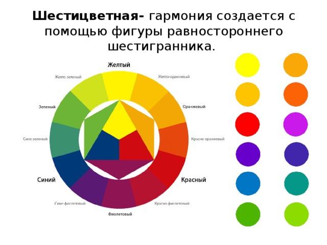 Шестицветная- гармония создается с помощью фигуры равностороннего шестигранника.