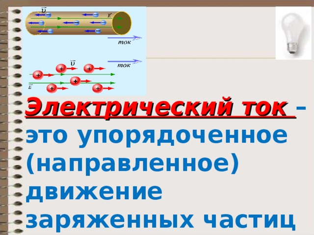 Электрический ток – это упорядоченное (направленное) движение заряженных частиц (направление «+» к «-»)