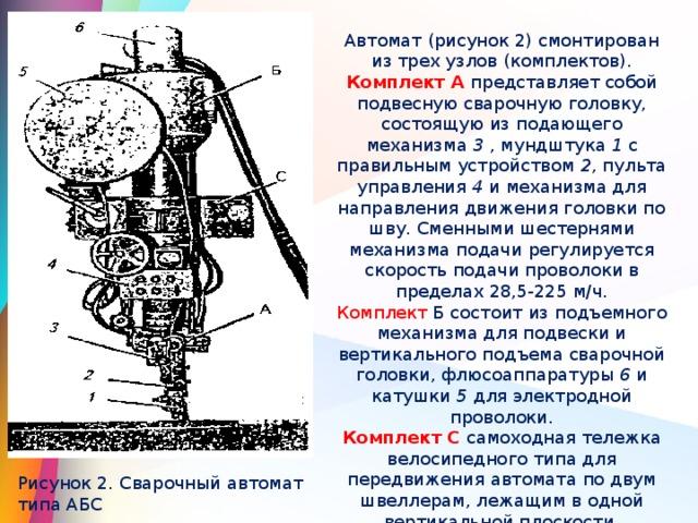 Автомат (рисунок 2) смонтирован из трех узлов (комплектов). Комплект А представляет собой подвесную сварочную головку, состоящую из подающего механизма 3 , мундштука 1 с правильным устройством 2 , пульта управления 4 и механизма для направления движения головки по шву. Сменными шестернями механизма подачи регулируется скорость подачи проволоки в пределах 28,5-225 м/ч. Комплект Б состоит из подъемного механизма для подвески и вертикального подъема сварочной головки, флюсоаппаратуры 6 и катушки 5 для электродной проволоки. Комплект С самоходная тележка велосипедного типа для передвижения автомата по двум швеллерам, лежащим в одной вертикальной плоскости. Рисунок 2. Сварочный автомат типа АБС