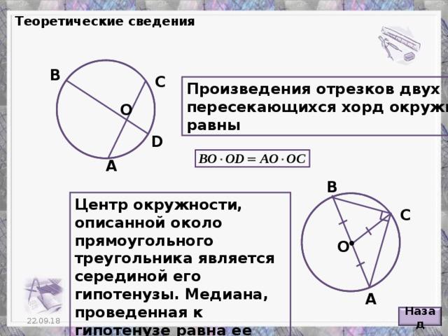 Теоретические сведения В С Произведения отрезков двух пересекающихся хорд окружности равны О D А В Центр окружности, описанной около прямоугольного треугольника является серединой его гипотенузы. Медиана, проведенная к гипотенузе равна ее половине. С О А Назад 4 22.09.18