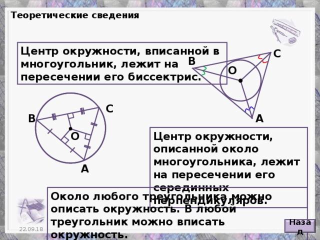 Теоретические сведения Центр окружности, вписанной в многоугольник, лежит на пересечении его биссектрис. С В О С В А О Центр окружности, описанной около многоугольника, лежит на пересечении его серединных перпендикуляров. А Около любого треугольника можно описать окружность. В любой треугольник можно вписать окружность. Назад 5 22.09.18