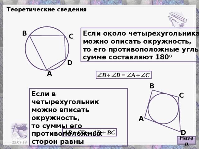 Теоретические сведения В Если около четырехугольника можно описать окружность, то его противоположные углы в сумме составляют 180 0 С D А В Если в четырехугольник можно вписать окружность, то суммы его противоположных сторон равны С А D Назад 6 22.09.18