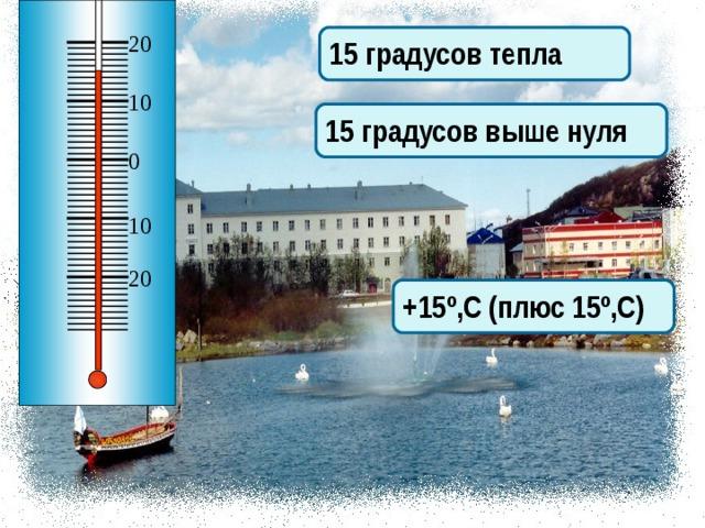 20 15 градусов тепла 10 15 градусов выше нуля 0 10 20 +15º,С (плюс 15º,С) Опишите показания термометра 8
