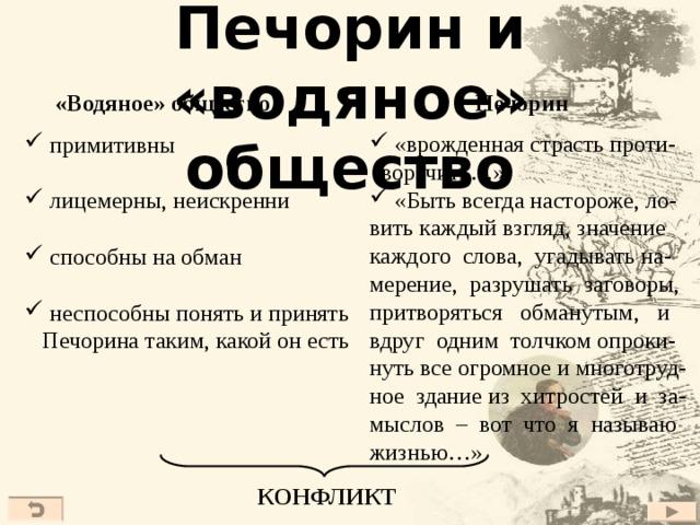 Печорин и «водяное» общество Печорин «Водяное» общество  «врожденная страсть проти-  воречить…»  «Быть всегда настороже, ло- вить каждый взгляд, значение каждого слова, угадывать на- мерение, разрушать заговоры, притворяться обманутым, и вдруг одним толчком опроки- нуть все огромное и многотруд- ное здание из хитростей и за- мыслов – вот что я называю жизнью…»  примитивны  лицемерны, неискренни  способны на обман  неспособны понять и принять  Печорина таким, какой он есть КОНФЛИКТ 23