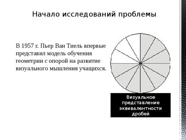 Начало исследований проблемы В 1957 г. Пьер Ван Тиель впервые представил модель обучения геометрии с опорой на развитие визуального мышления учащихся. Визуальное представление эквивалентности дробей