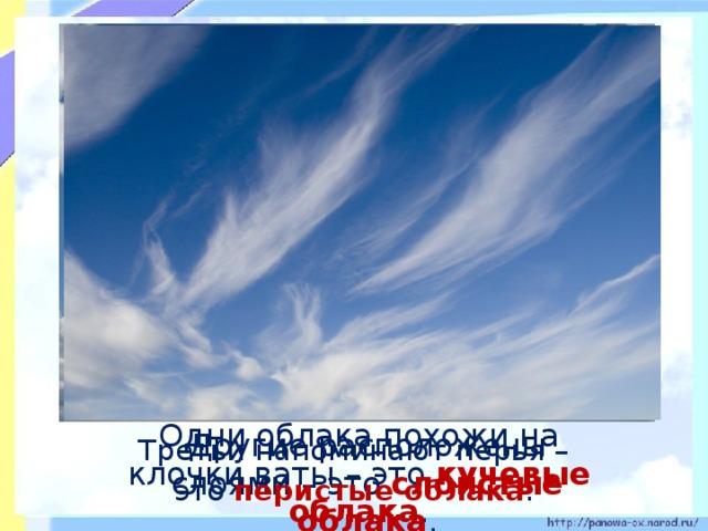Другие расположены слоями – это слоистые облака .  Третьи напоминают перья –  Одни облака похожи на клочки ваты – это кучевые облака .  это перистые облака .
