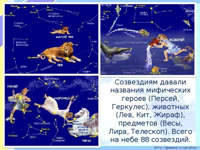 Созвездиям давали названия мифических героев (Персей, Геркулес), животных (Лев, Кит, Жираф), предметов (Весы, Лира, Телескоп). Всего на небе 88 созвездий.