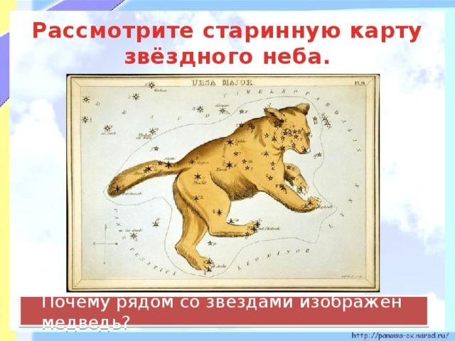 Рассмотрите старинную карту звёздного неба.  Почему рядом со звёздами изображён медведь?