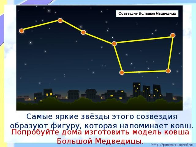 Самые яркие звёзды этого созвездия образуют фигуру, которая напоминает ковш. Попробуйте дома изготовить модель ковша Большой Медведицы.