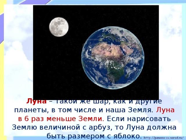 Луна – такой же шар, как и другие планеты, в том числе и наша Земля. Луна в 6 раз меньше Земли. Если нарисовать Землю величиной с арбуз, то Луна должна быть размером с яблоко.