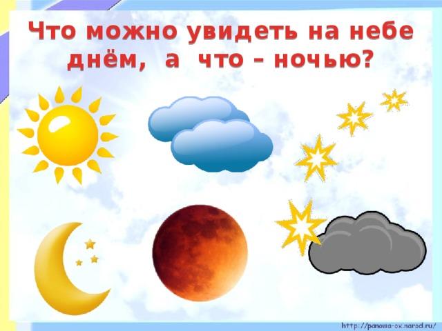 Что можно увидеть на небе днём, а что – ночью?