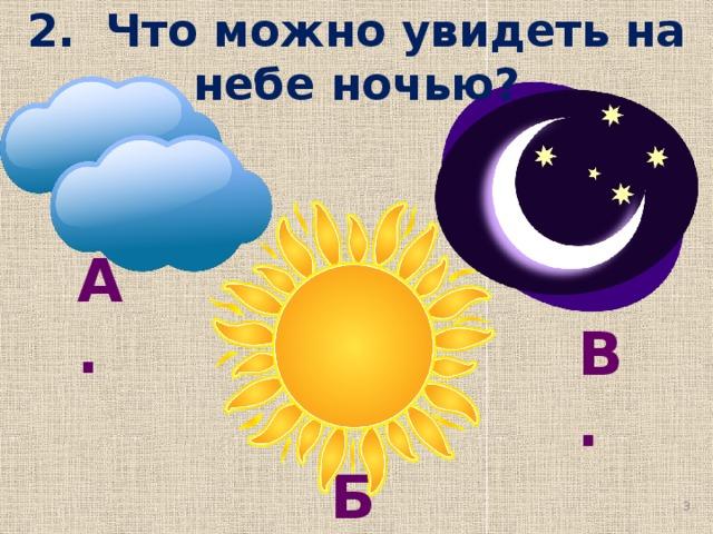 2. Что можно увидеть на небе ночью? А. В.  Б.  Яковлева И.И. МОУ СОШ