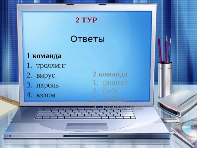 2 тур Ответы 1 команда 2 команда троллинг вирус пароль взлом фишинг фейк файрвол криптология
