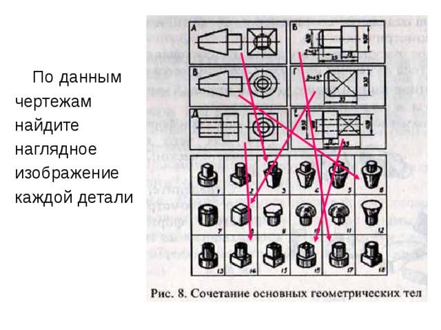 По данным чертежам найдите наглядное изображение каждой детали