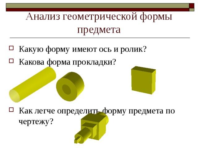 Анализ геометрической формы предмета Какую форму имеют ось и ролик? Какова форма прокладки? Как легче определить форму предмета по чертежу? А 6