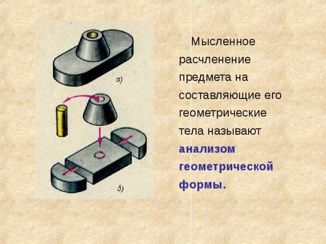 Мысленное расчленение предмета на составляющие его геометрические тела называют анализом геометрической формы.