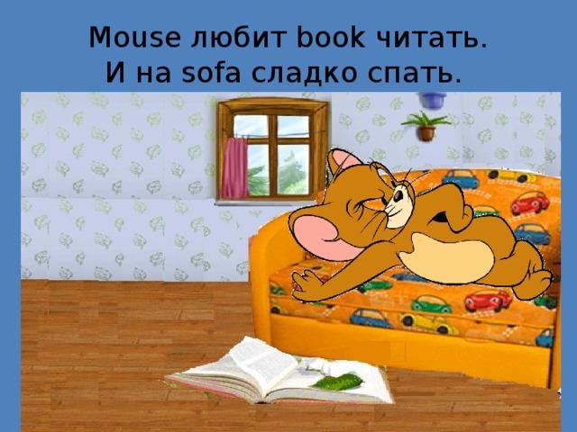 Mouse любит book читать.  И на sofa сладко спать.