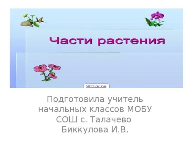 Подготовила учитель начальных классов МОБУ СОШ с. Талачево  Биккулова И.В.