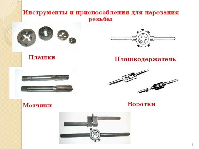 Инструменты и приспособления для нарезания резьбы Плашки Плашкодержатель Воротки Метчики