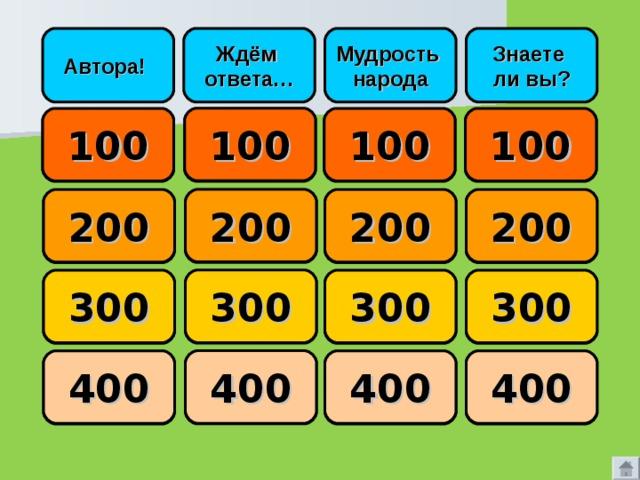 Знаете ли вы? Мудрость народа Ждём ответа… Автора!  100 100 100 100     200 200 200 200     300 300 300 300     400 400 400 400
