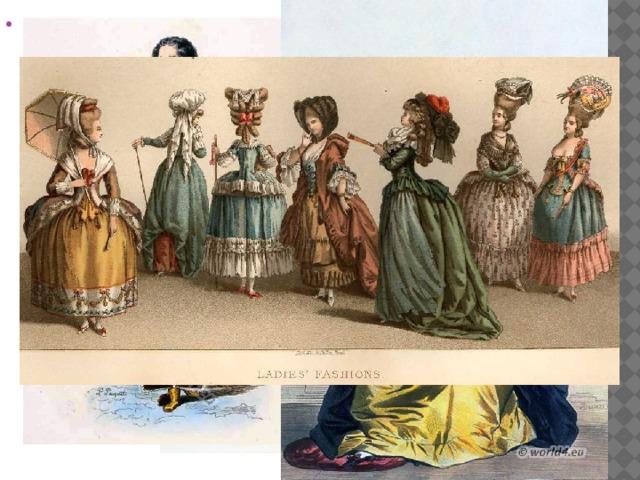 Модаэпохи барокко соответствует воФранциипериоду правленияЛюдовика XIV, второй половинеXVII века. Это времяабсолютизма. При дворе царили строгийэтикет, сложныйцеремониал.Костюмбыл подчинен этикету. Франция была законодателем моды в Европе, поэтому в других странах быстро переняли французскую моду.