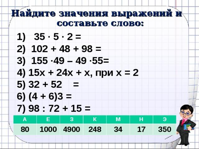 Найдите значения выражений и составьте слово: 1) 35 · 5 · 2 = 2) 102 + 48 + 98 = 3) 155 ·49 – 49 ·55= 4) 15х + 24х + х, при х = 2 5) 32 + 52 = 6) (4 + 6)3 = 7) 98 : 72 + 15 = А 80 Е З 1000 К 4900 М 248 34 Н Э 17 350