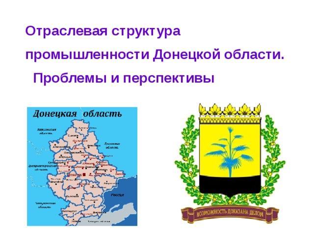 Отраслевая структура промышленности Донецкой области.  Проблемы и перспективы Тема