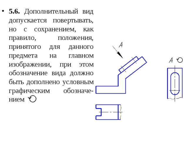 5.6. Дополнительный вид допускается повертывать, но с сохранением, как правило, положения, принятого для данного предмета на главном изображении, при этом обозначение вида должно быть дополнено условным графическим обозначе-нием