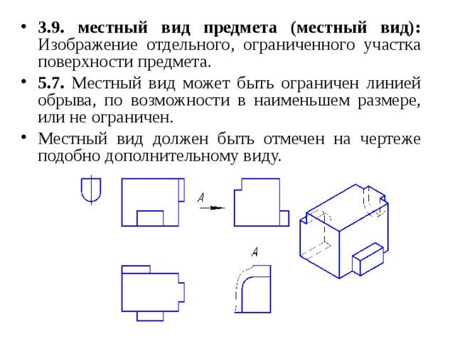 3.9.  местный вид предмета (местный вид): Изображение отдельного, ограниченного участка поверхности предмета. 5.7. Местный вид может быть ограничен линией обрыва, по возможности в наименьшем размере, или не ограничен. Местный вид должен быть отмечен на чертеже подобно дополнительному виду.