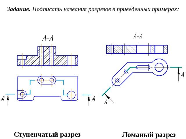 Задание. Подписать названия разрезов в приведенных примерах: Ступенчатый разрез Ломаный разрез