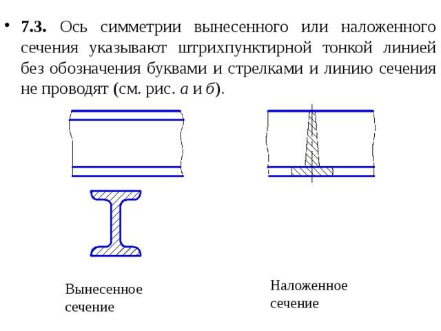 7.3. Ось симметрии вынесенного или наложенного сечения указывают штрихпунктирной тонкой линией без обозначения буквами и стрелками и линию сечения не проводят  (см. рис. а и б ) .