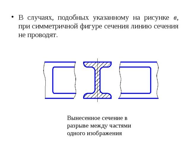 В случаях, подобных указанному на рисунке  в , при симметричной фигуре сечения линию сечения не проводят .