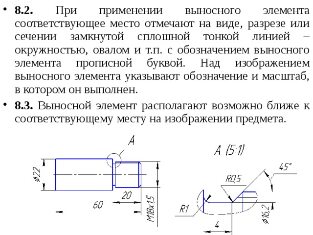 8.2. При применении выносного элемента соответствующее место отмечают на виде, разрезе или сечении замкнутой сплошной тонкой линией – окружностью, овалом и т.п. с обозначением выносного элемента прописной буквой. Над изображением выносного элемента указывают обозначение и масштаб, в котором он выполнен. 8.3. Выносной элемент располагают возможно ближе к соответствующему месту на изображении предмета.