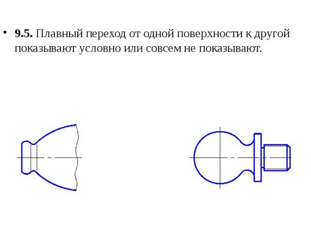 9.5. Плавный переход от одной поверхности к другой показывают условно или совсем не показывают.