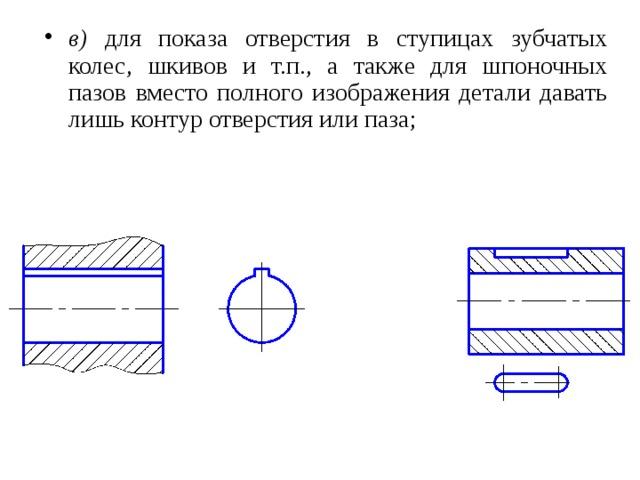 в) для показа отверстия в ступицах зубчатых колес, шкивов и т.п., а также для шпоночных пазов вместо полного изображения детали давать лишь контур отверстия или паза;