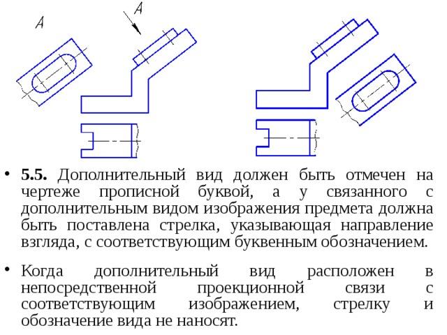 5.5. Дополнительный вид должен быть отмечен на чертеже прописной буквой, а у связанного с дополнительным видом изображения предмета должна быть поставлена стрелка, указывающая направление взгляда, с соответствующим буквенным обозначением.  Когда дополнительный вид расположен в непосредственной проекционной связи с соответствующим изображением, стрелку и обозначение вида не наносят.