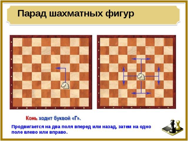 Парад шахматных фигур Продвигается на два поля вперед или назад, затем на одно поле влево или вправо.