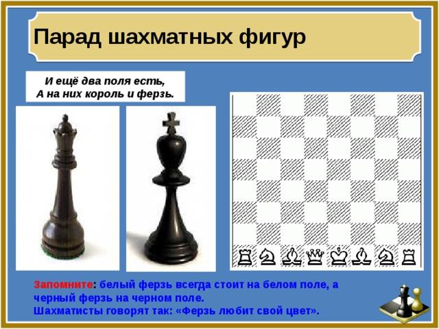 Парад шахматных фигур И ещё два поля есть, А на них король и ферзь. Запомните : белый ферзь всегда стоит на белом поле, а черный ферзь на черном поле. Шахматисты говорят так: «Ферзь любит свой цвет».