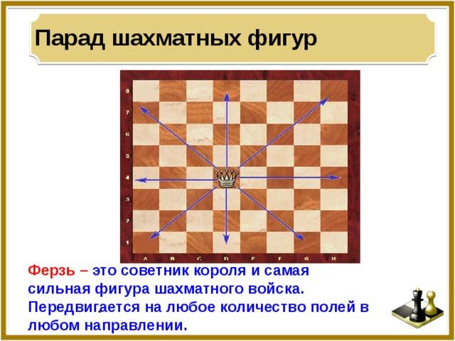 Парад шахматных фигур Ферзь –  это советник короля и самая сильная фигура шахматного войска. Передвигается на любое количество полей в любом направлении. .