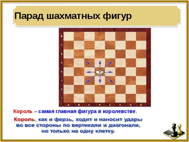 Парад шахматных фигур Король  – самая главная фигура в королевстве .