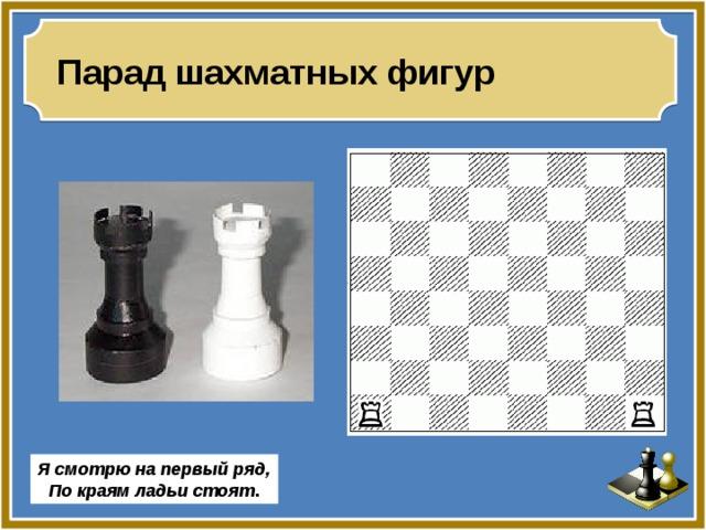 Парад шахматных фигур Я смотрю на первый ряд, По краям ладьи стоят .