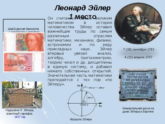 Леонард Эйлер  1 место   Он считается самым великим математиком в истории человечества. Эйлер оставил важнейшие труды по самым различным отраслям математики, механики, физики, астрономии и по ряду прикладных наук. Эйлер впервые увязал анализ, алгебру, тригонометрию, теорию чисел и др. дисциплины в единую систему, и добавил немало собственных открытий. Значительная часть математики преподаётся с тех пор «по Эйлеру».  Швейцарская банкнота с портретом молодого Эйлера  7 (18) сентября 1783 - 4(15)апреля 1707        Мемориальная доска на доме Эйлера в Берлине Надгробие Л.Эйлера, гранитный саркофаг, 1837 год Формула Эйлера
