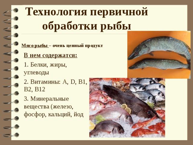 Технология первичной обработки рыбы Мясо рыбы – очень ценный продукт В нем содержатся: 1. Белки, жиры, углеводы 2. Витамины: А, D , B1 , В2, В12 3. Минеральные вещества (железо, фосфор, кальций, йод