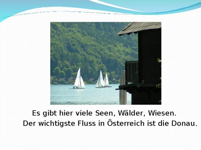 Es gibt hier viele Seen, Wälder , Wiesen.    Der wichtigste Fluss in Österreich ist die Donau.
