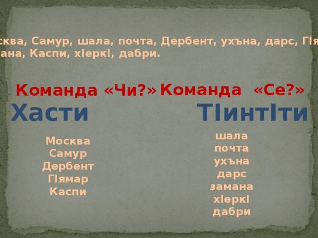 Москва, Самур, шала, почта, Дербент, ухъна, дарс, ГIямар, замана, Каспи, хIеркI, дабри. Команда «Се?» Команда «Чи?» Хасти ТIинтIти шала почта ухъна дарс замана хIеркI дабри Москва Самур Дербент ГIямар Каспи