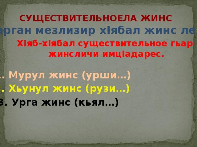 Существительноела жинс Дарган мезлизир хIябал жинс лер. ХIяб-хIябал существительное гьар жинсличи имцIадарес. 1. Мурул жинс (урши…) 2. Хьунул жинс (рузи…) 3. Урга жинс (кьял…)