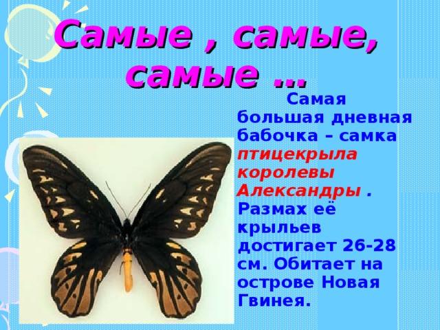 Самые , самые, самые …  Самая большая дневная бабочка – самка птицекрыла королевы Александры . Размах её крыльев достигает 26-28 см. Обитает на острове Новая Гвинея.