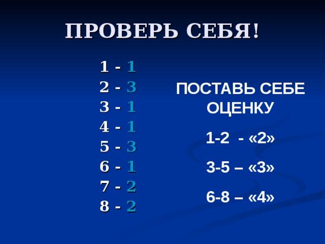 ПРОВЕРЬ СЕБЯ! 1 - 1 2 - 3 3 - 1 4 - 1 5 - 3 6 - 1 7 - 2 8 - 2  ПОСТАВЬ СЕБЕ ОЦЕНКУ 1-2 - «2» 3-5 – «3» 6-8 – «4»