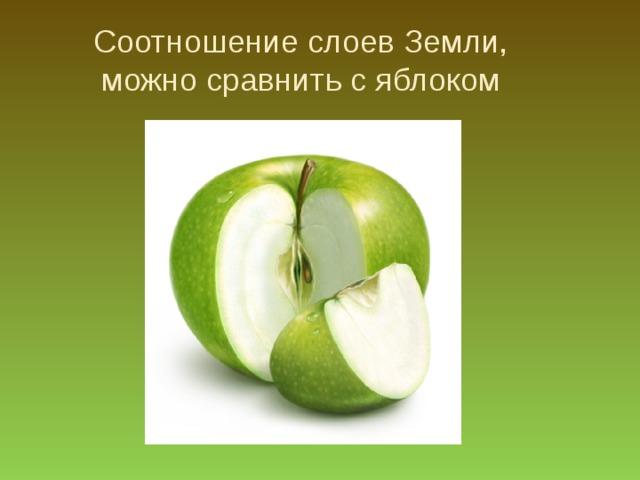 Соотношение слоев Земли, можно сравнить с яблоком