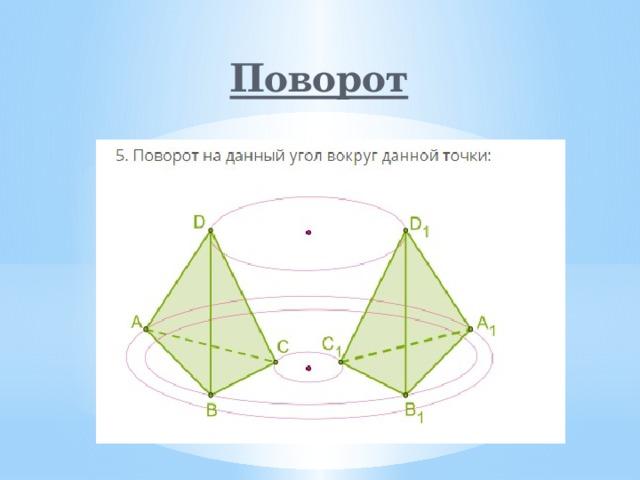 Поворот Поворот – движение, при котором по крайней мере одна точка плоскости остается неподвижной. Вращение плоскости (пространства) называется собственным или несобственным.